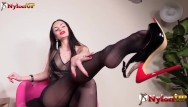 Asian nylons bdsm Goddess ambra hot dangling and footjob in red pantyhose