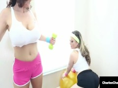 Let's Work Out With Wet Lesbians Carmen Valentina & Charlee Chase!