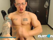 Flirt4Free - Hans Odinson - Tatted Hispanic Hunk w Big Monster Cock Jerks Off a Big Load on His Abs