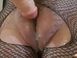 ALL NATURAL HAIRY FAT PUSSY MILF MESSY CREAMPIE FANTASY DILDO GRINDING AND FUCKING