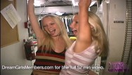 Big cunt club Two hot blonde freaks get naked in club kitchen