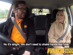Fake Driving College Blondie Stepsister Enjoys A Real Backseat Raunchy Pound Jism On Face