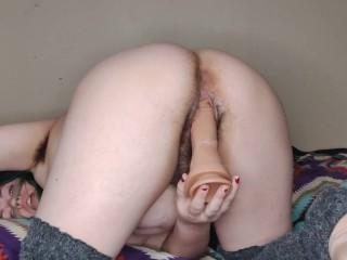 CHUBBY EX GIRLFRIEND FUCKS HER CREAMY HAIRY PUSSY DOGGY STYLE