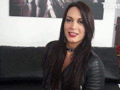 Trans Bella - Erika Lavigne Brunette Latina Shemale Ass Fucked By Two Horny Guys In Hot Threesome