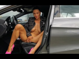 Naughty Milf Lilly naked in the store and after shoping squirt on parking