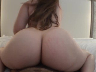 Pawg wife bounces big booty on cock reverse cowgirl creampie