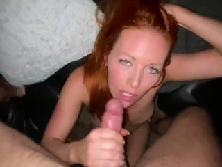 Amateur redhead milf fucked in the living room