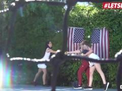 ScamAngels - Kenzie Madison And Katrina Jade Perfect Ass American Teens Share Big Cock Outdoor - LETSDOEIT