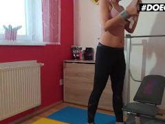 DoeGirls - Julia Parker Big Booty Czech Girl Plays With Her Wet Pussy After Intense Workout Session