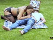 Crazy public sex in the park! Does she know you're watching her??