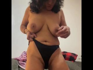 Anna Maria Mature Latina teasing in panties topless