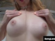 Lovely Lipstick On Sunny Lane Finger Fucking Pussy Decked Out In Hot Red!