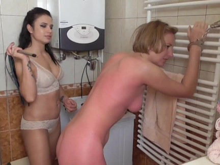 lady deborah spank her sub in bathroom