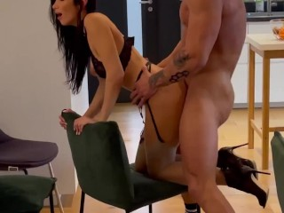 Clea Gaultier washing dishes in sexy underwear ends with a quickie