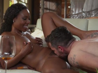 Penthouse star Channel Heart cowgirl rides big white dick and gets cum on her ass
