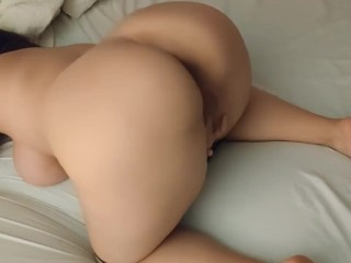 Sexy girl home alone with big ass masturbating herself doggystyle