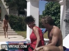 Vintage threesome at the poolside