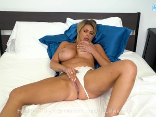 Brooklyn Chase Big Tits MILF on cam fingering her shaved sweet pussy