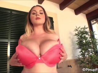 Holly Garner is so desirable when she striptease in her peach bra