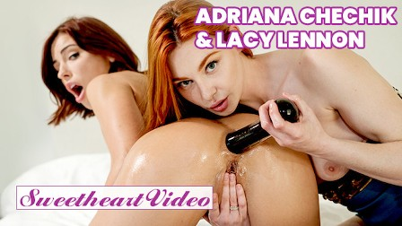 Sweetheart - Naughty brownhaired lebians Adriana Chechik  Lacy Lennon get kinky with their new toys