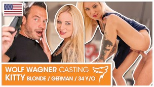 Tattoo model Kitty Blair invites him for fuck date casting! WOLF WAGNER CASTING