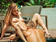 DADDY4K. Beautiful babe cheats on BF outdoors with his well-built daddy