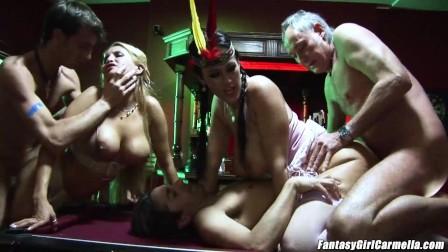 Carmella Bing anal sex airtight fucking 2 big cocks pump her hard