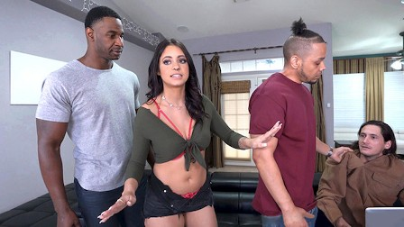 Busty Teen Melody Foxx Has Threesome Sex With BBC To Teach Her Dad A Lesson