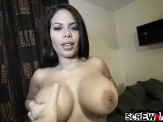 ScrewMeToo Huge Tit Latina Fucks White Dick