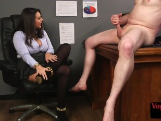 Voyeuristic femdom teases submissive during jerkoff