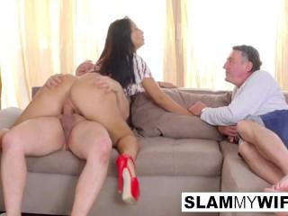 Hot babe gets some strange cock