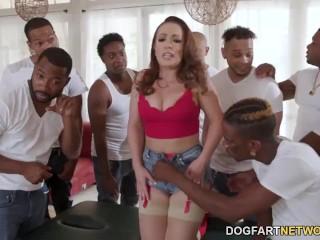 Big Ass MILF Carmen Valentina Enjoys Interracial Gangbang With Many Big Black Dicks