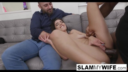 Dark Haired Babe Takes A Cream Pie from A Big Black Cock