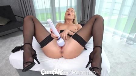 CUM4K Small Tit Blonde Drips With Cum