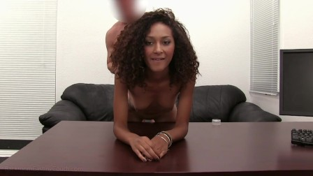 Chocolate Coed Olivia Gives Sloppy Deepthroat BJ For Cash In Fake Casting!