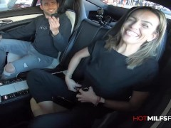 Hot Busty Milf Karla Fucked In SUV Then Goes For a Two Cock Threesome Squirting In Rough First Time Porn