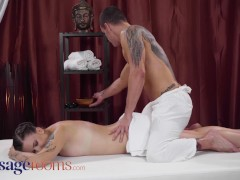 Massage Rooms Pretty brunette Euro babe Little Eliss romantic fuck on massage table