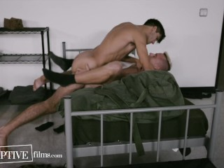 Army Jock Finally Accepts Himself & Has First Gay Experience With Bunkmate