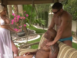 Big Titty Blonde Fucked By Hunky Gay Couple On Vaction – BiPhoria